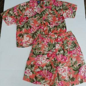 Vintage Gap shorts set orange floral 11/12 2 pc